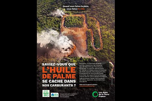 Campagne engagée de Léa Nature et des Amis de la Terre sur l'huile de palme dans les carburants